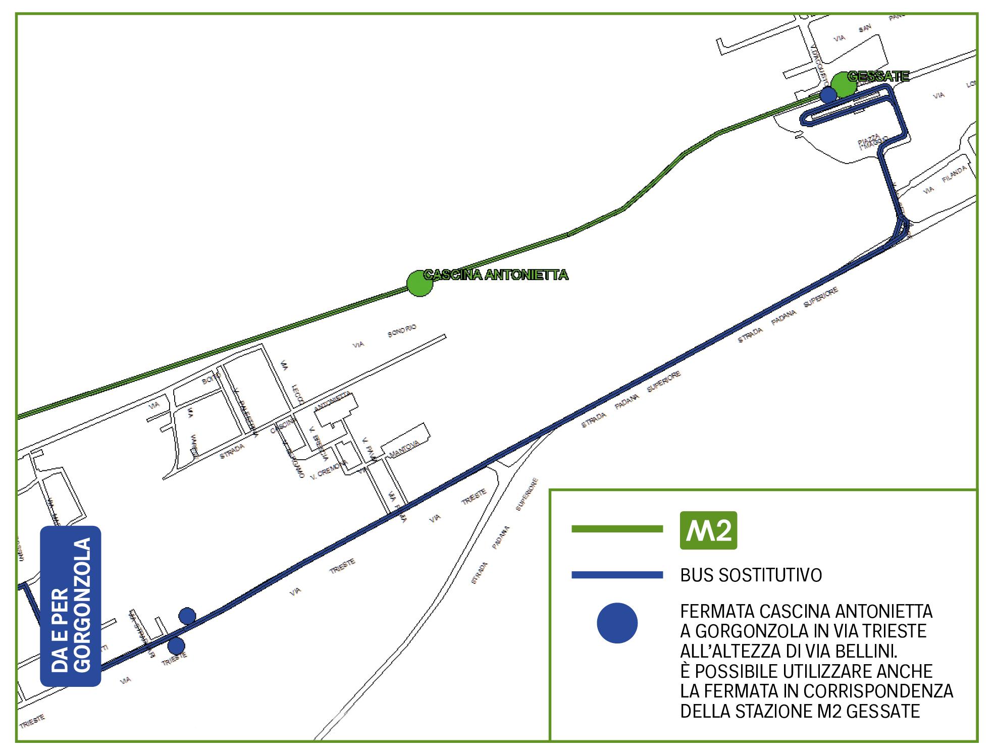 Mappa Bus sostitutivo Cascina Antonietta
