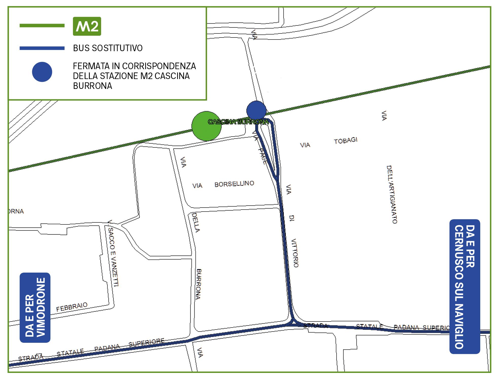 Mappa Bus sostitutivo Cascina Burrona