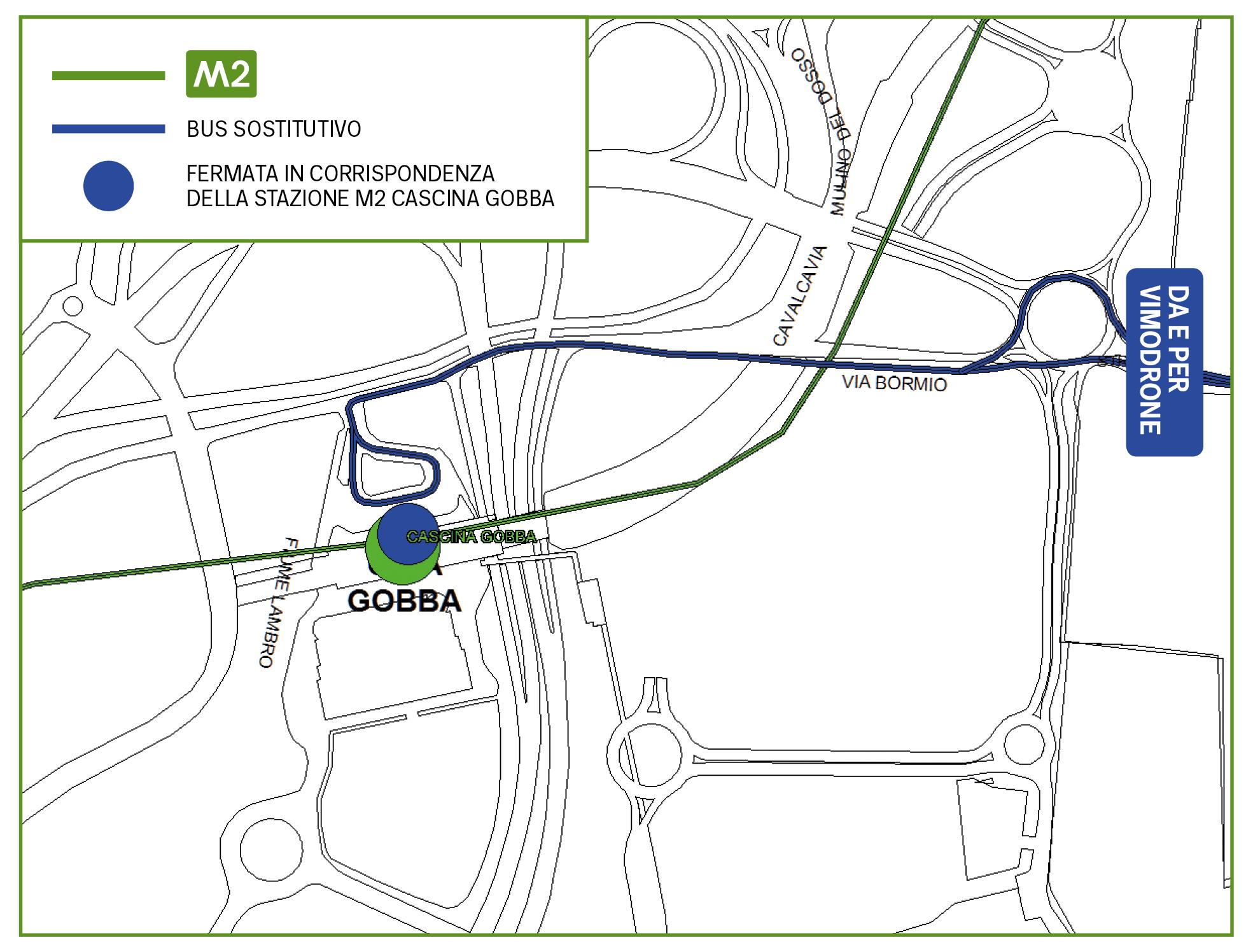 Mappa Bus sostitutivo Cascina Gobba