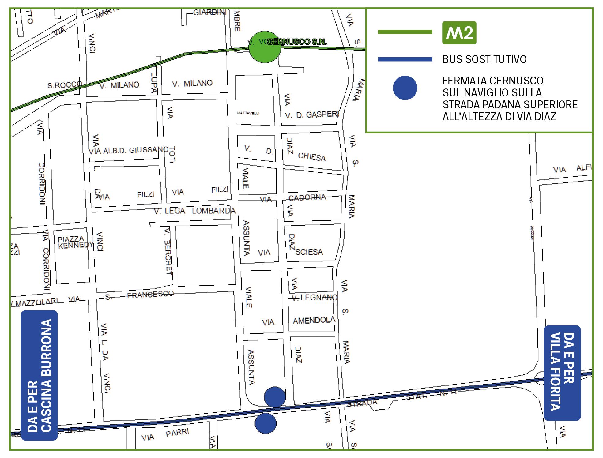 Mappa Bus sostitutivo Cernusco sul Naviglio