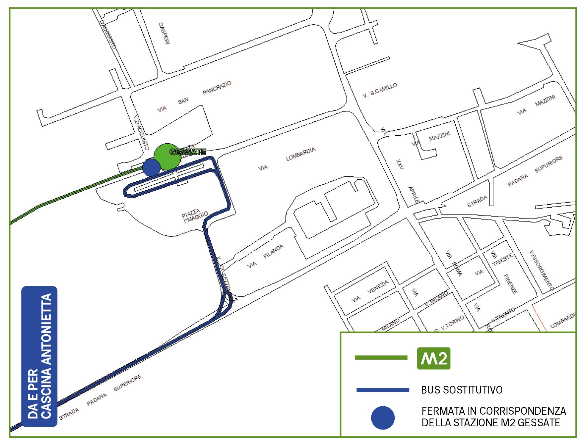 Mappa Bus sostitutivo Gessate