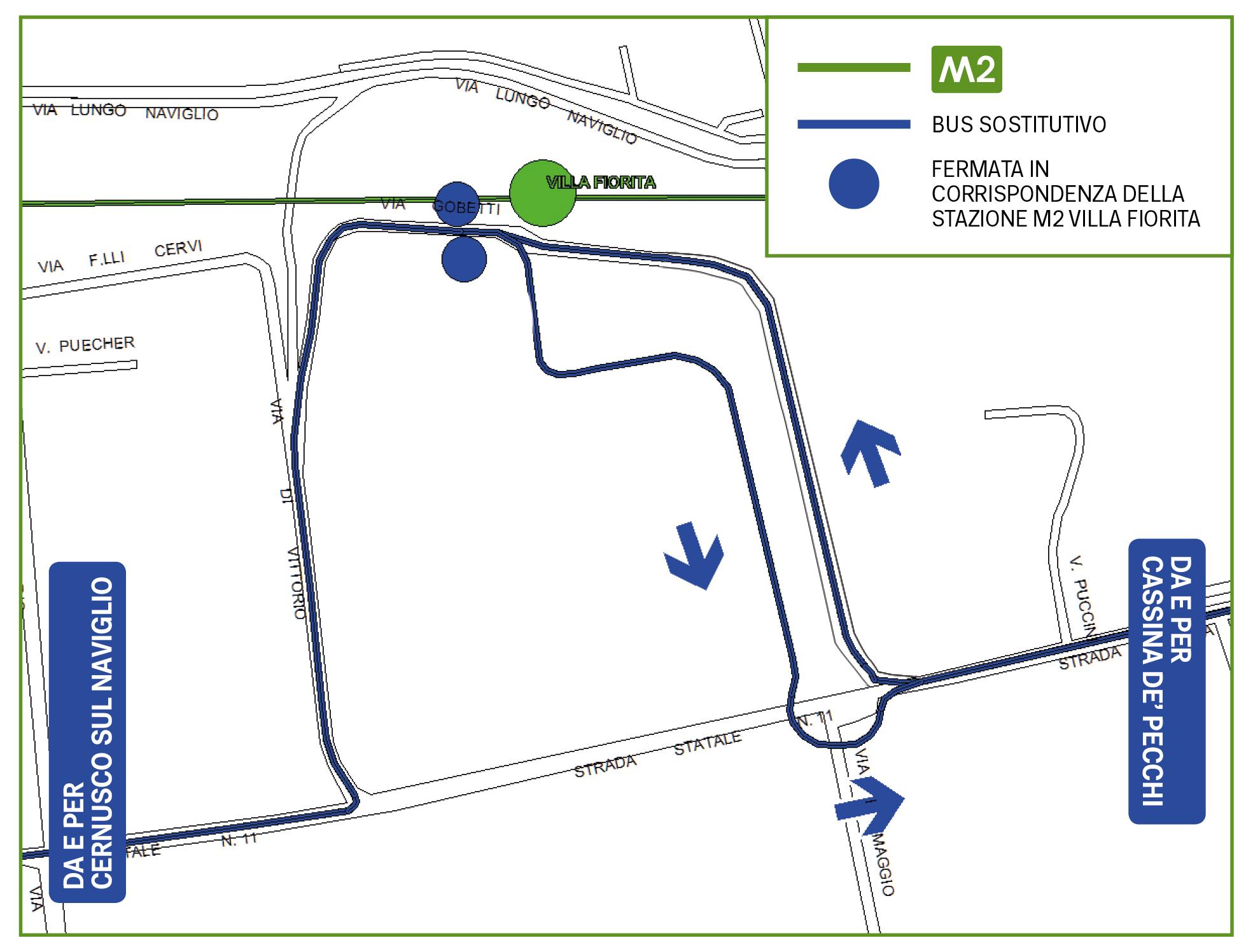 Mappa Bus sostitutivo Villa Fiorita
