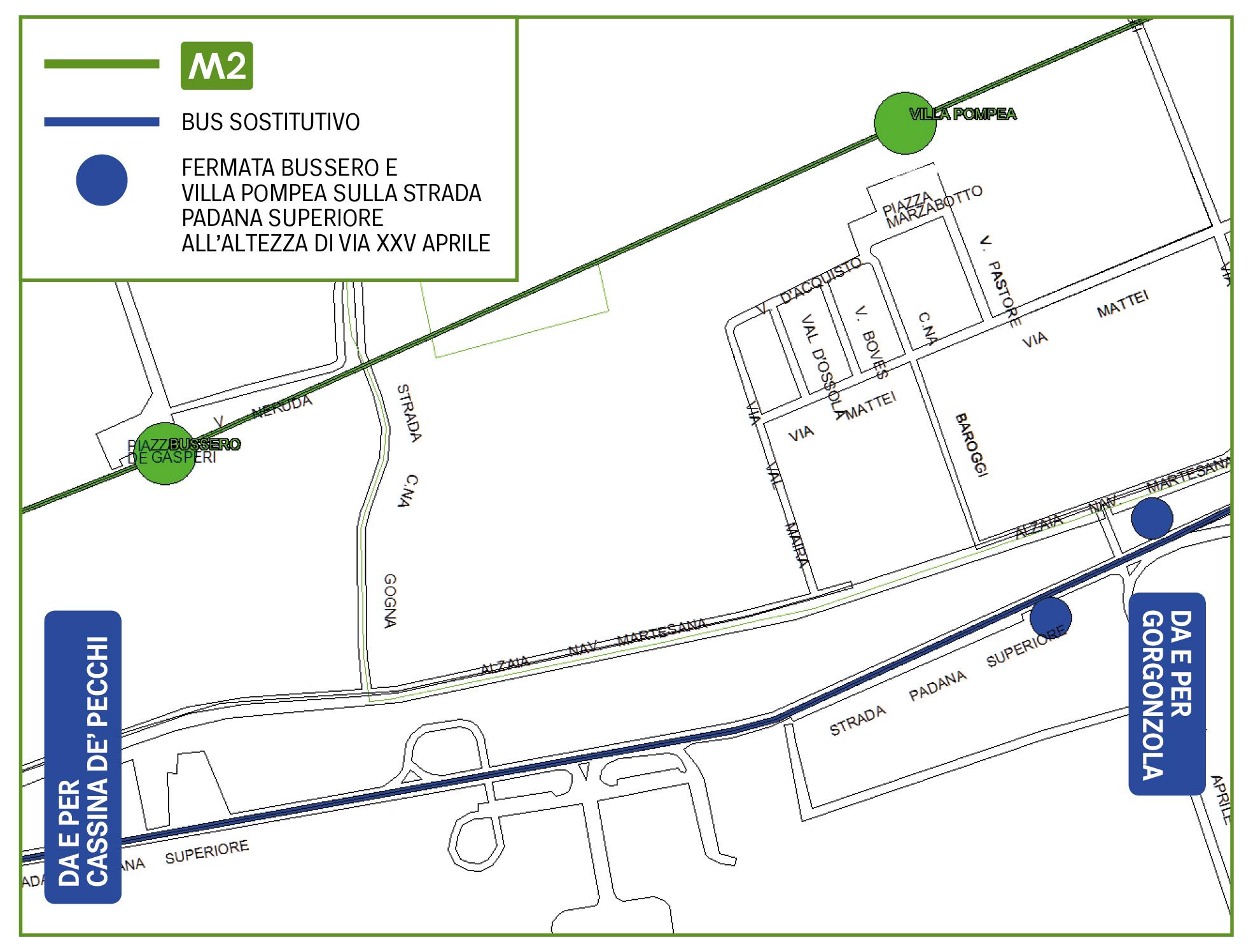 Mappa Bus sostitutivo Bussero e Villa Pompea