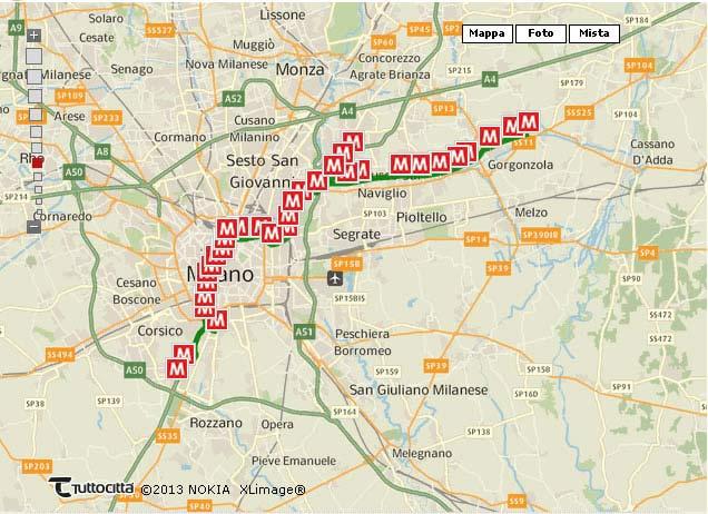 Metropolitana Milano Linea M2 Su Mappa
